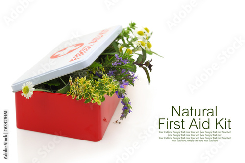 Fresh herbs in first aid kit - 63429461