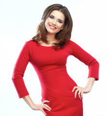 Woman red dress portrait isolated on white background. Smiling