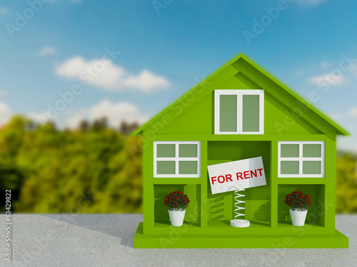 Small green house for rent.