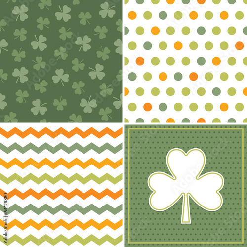 set of cool seamless background patterns in orange and green