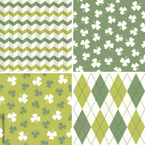 set of cool seamless background patterns in green and white