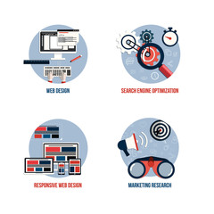 Icons for seo, web design, responsive web design and marketing r