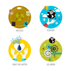 Icons for recycle, ecology, save the water, go green. Flat style