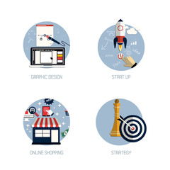 Icons for graphic design, start up, online shopping and strategy