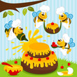 bees chefs prepare cake - vector illustration