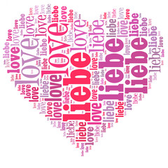 Word cloud in a heart shape filled with love