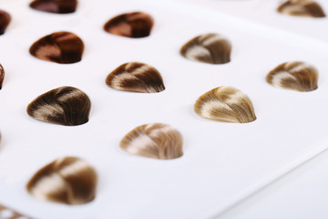 Hair samples of different colors on white background