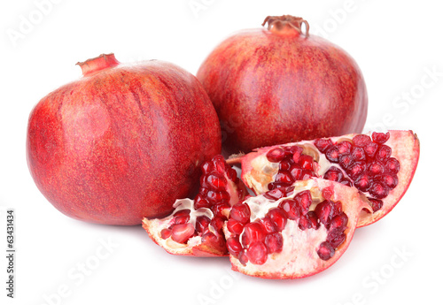 Ripe pomegranates isolated on white