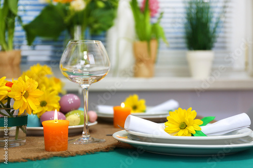 Leinwandbild Motiv Beautiful holiday Easter table setting