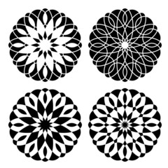 Set of geometrical floral ornaments