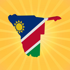 Namibia map flag on sunburst illustration