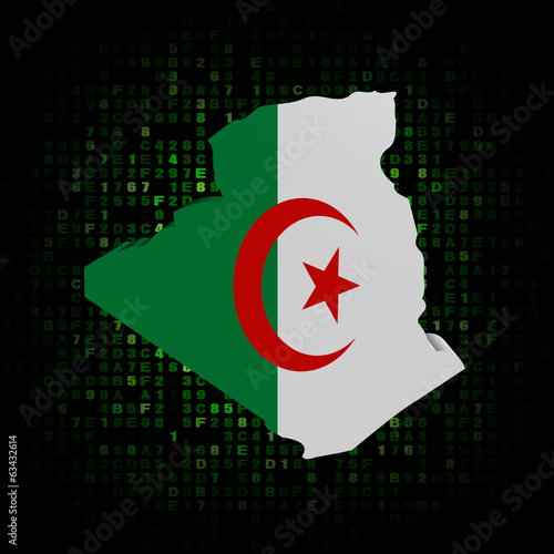 Algeria map flag on hex code illustration