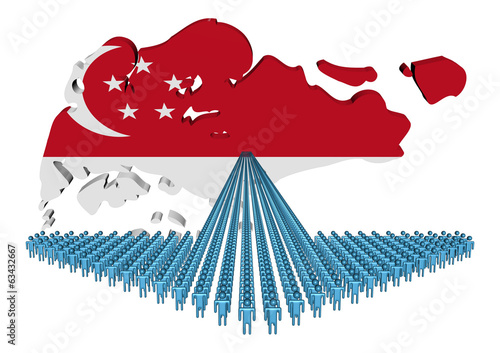 Arrow of people with Singapore map flag illustration