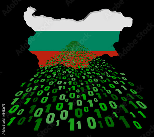 Bulgaria map flag with binary foreground illustration