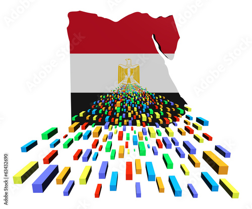 Egypt map flag with containers illustration