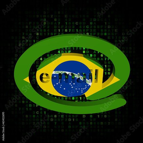 e-mail address AT symbol with Brazil flag on hex illustration