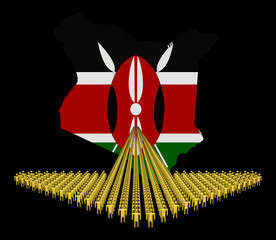 Arrow of people with Kenya map flag illustration
