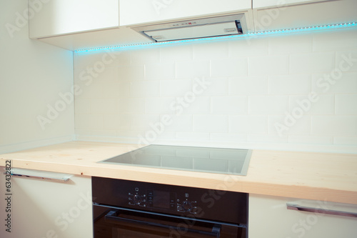 contemporary white kitchen interior. close up