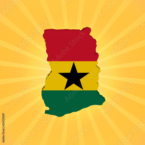 Ghana map flag on sunburst illustration