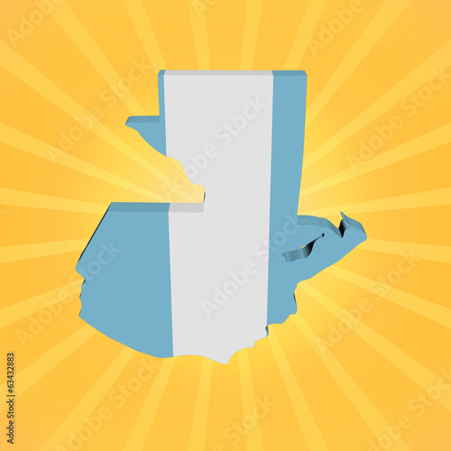 Guatemala map flag on sunburst illustration