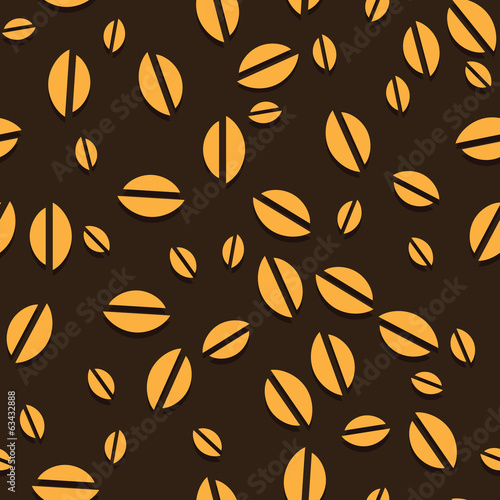 Coffee vector seamless beans background.