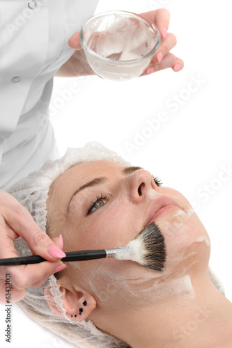 beauty salon, facial mask applying