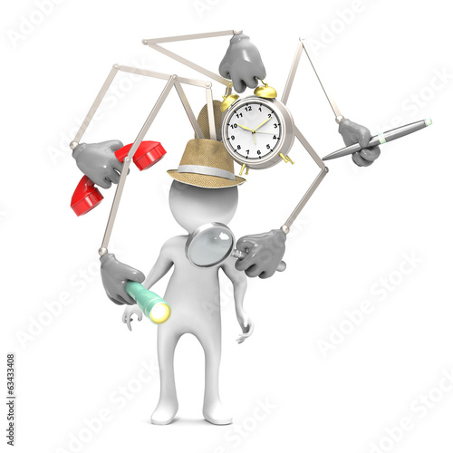 3d man with hat gadgets