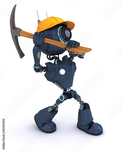 android builder with a pick axe