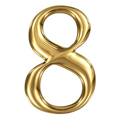 Golden shining metallic 3D symbol figure 8 isolated on white