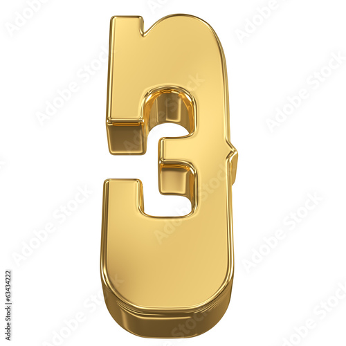Digit figure 3 from gold solid alphabet, tilt 30 degrees, render