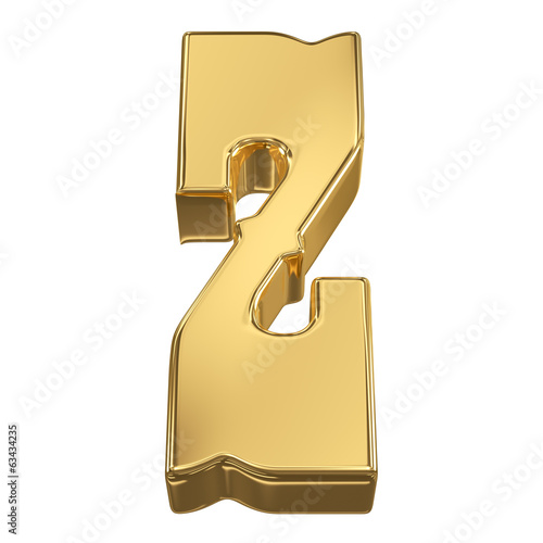 Letter Z from gold solid alphabet, tilt 30 degrees, render
