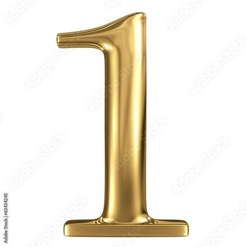 Golden shining metallic 3D symbol figure 1 isolated on white