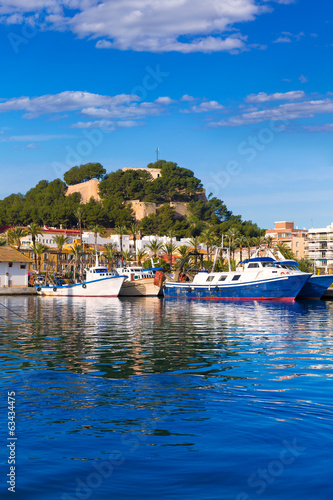 Denia Port with castle hill Alicante province Spain