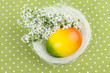 Easter Nest Decoration on Green Polka Dot Background