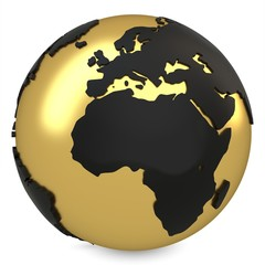 3d golden earth globe