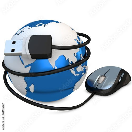 3d globe with mouse, global connection concept
