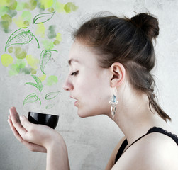 Woman drinking green Tea