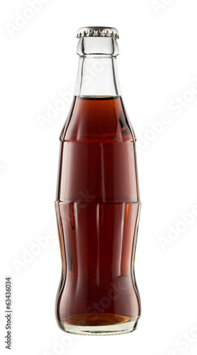Close up of cola bottle isolated on white background