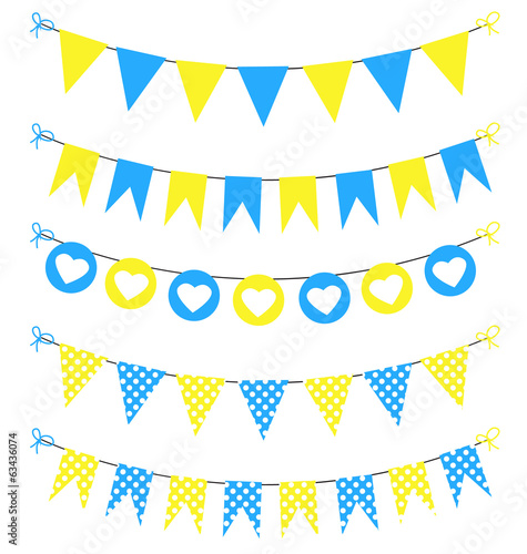 Bunting set yellow and blue for scrapbook