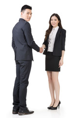 Business woman and man shake hands