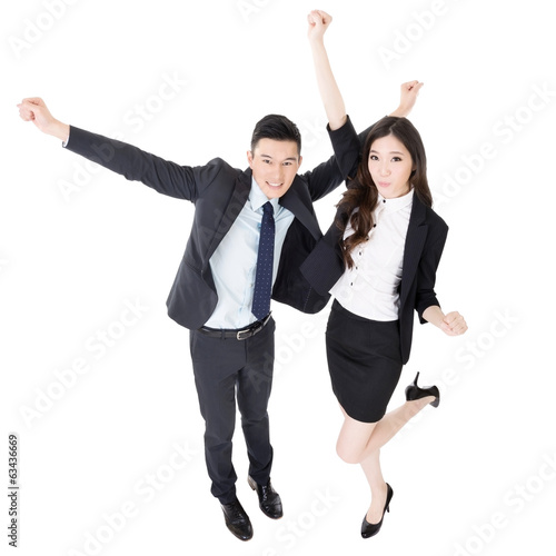 Exciting business man and woman