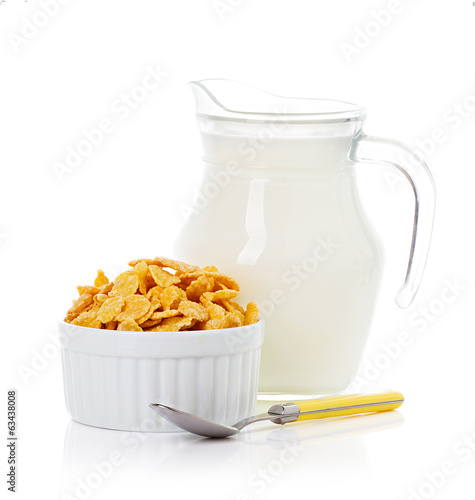 Breakfast with corn-flakes and milk