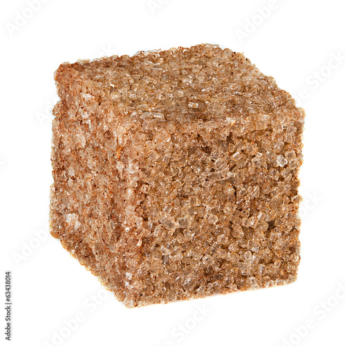 Brown sugar cube isolated