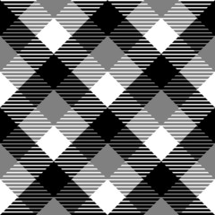 Checkered gingham fabric seamless pattern in black white grey