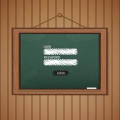 Realistic blackboard Web login form template.