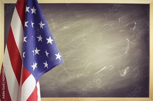 Flag and blackboard - 63439887