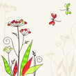 Floral background with two dragonflies