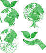 eco doodle set hand drawn vector,illustration