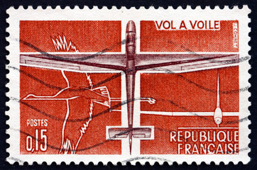 Postage stamp France 1962 Glider, Sport Aviation