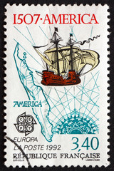 Postage stamp France 1992 Sailing Ship and Map